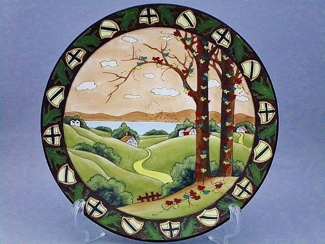 SALE★オールドノリタケ 盛上装飾ウッドランド大飾り皿 27.5㎝(キャビネット) 鉢 カップ 花瓶 壺