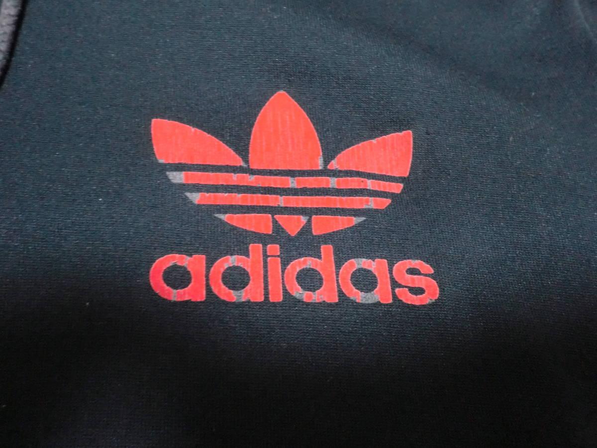 90's adidas アディダス フーディトラックジャケット フード付きジャージ S ネイビーxレッド ビンテージ ヴィンテージ_画像3