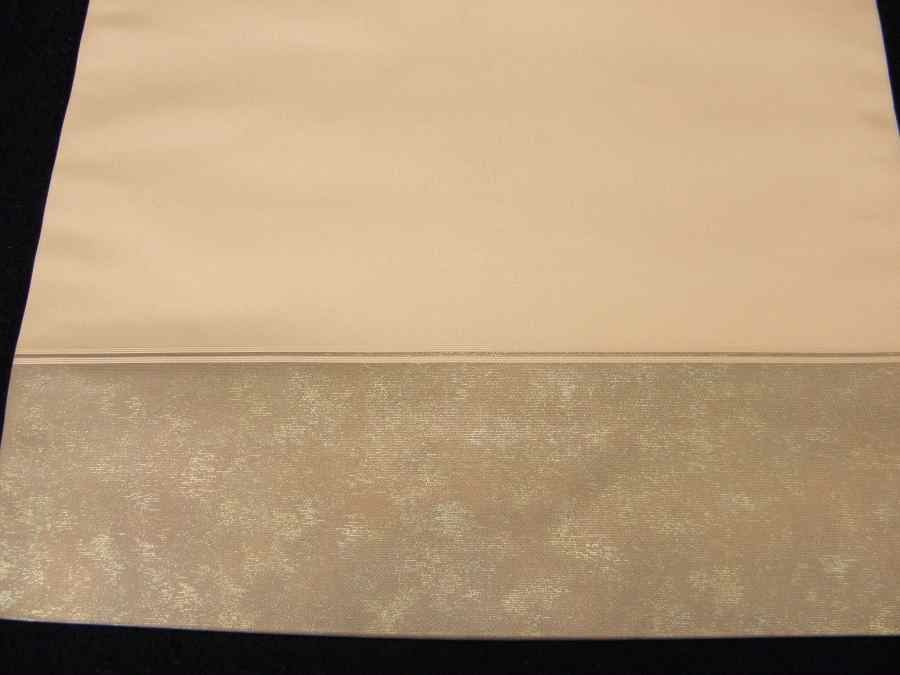 【帯喜楽】タ2-23●九寸名古屋帯●薄ベージュに箔と刺繍の梅に桶_画像3