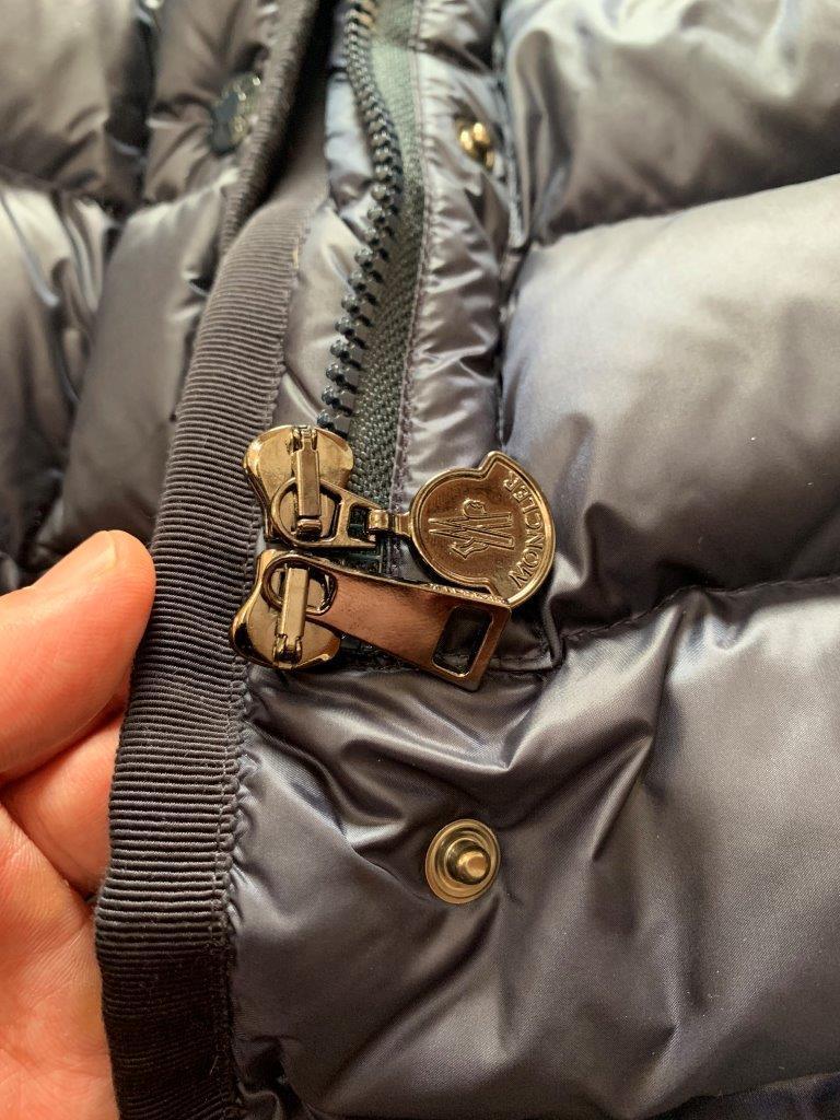 稀少ファスナー16-17AW 国内正規極美品 モンクレール エルミンヌ HERMINE 一番人気 ロング ダウン コート ジャケット ベスト NAVY サイズ0 _画像8