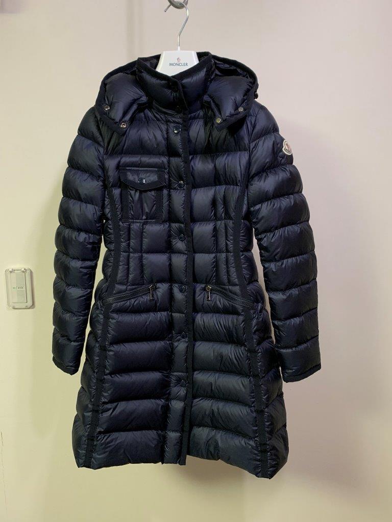 稀少ファスナー16-17AW 国内正規極美品 モンクレール エルミンヌ HERMINE 一番人気 ロング ダウン コート ジャケット ベスト NAVY サイズ0 _画像1