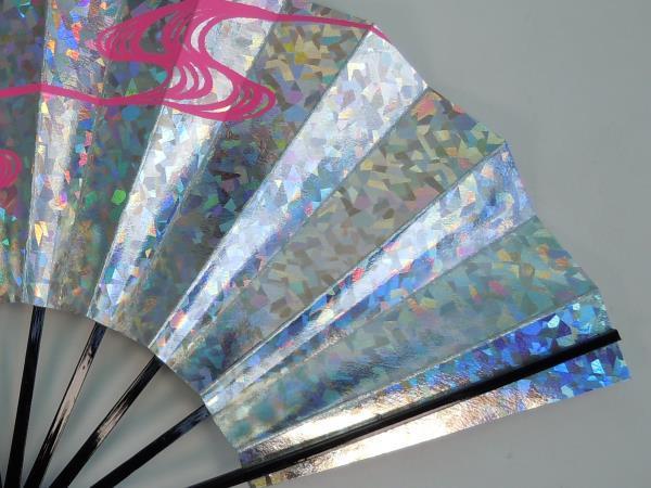 8106,舞扇子 日本舞踊・踊り用 29cm ホロ箔・銀・ピンク・波柄 日本製(京都) 箱なし_画像5