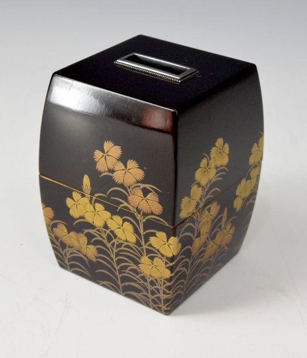 撫子蒔絵 札筒 香道具 漆芸 香札 【札筒】香札を答えとして集めるのに使う物