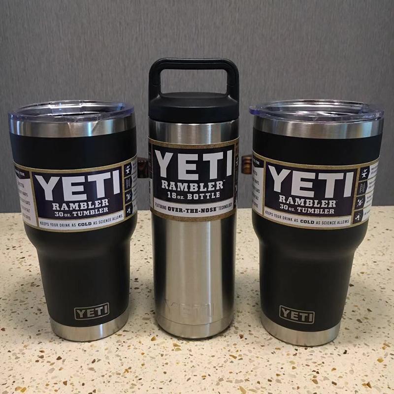 3個組YETI 1個18oz & 2個30oz black真空断熱 保温/冷 タンブラー★イエティ RAMBLER Bottle Tumbler ミリタリー水筒304食用ステンレス