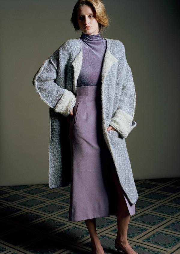 mame マメ 17AW 日本製 シルクウールハイウエストスカート MM17AW-SK060 1 ラベンダー Mame Kurogouchi | lc25799_画像1