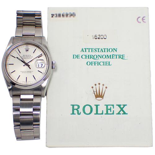 【82521】ROLEX (ロレックス) 16200 デイトジャスト P番 シルバー文字盤 メンズ SS 自動巻き 保証書【中古】_画像10