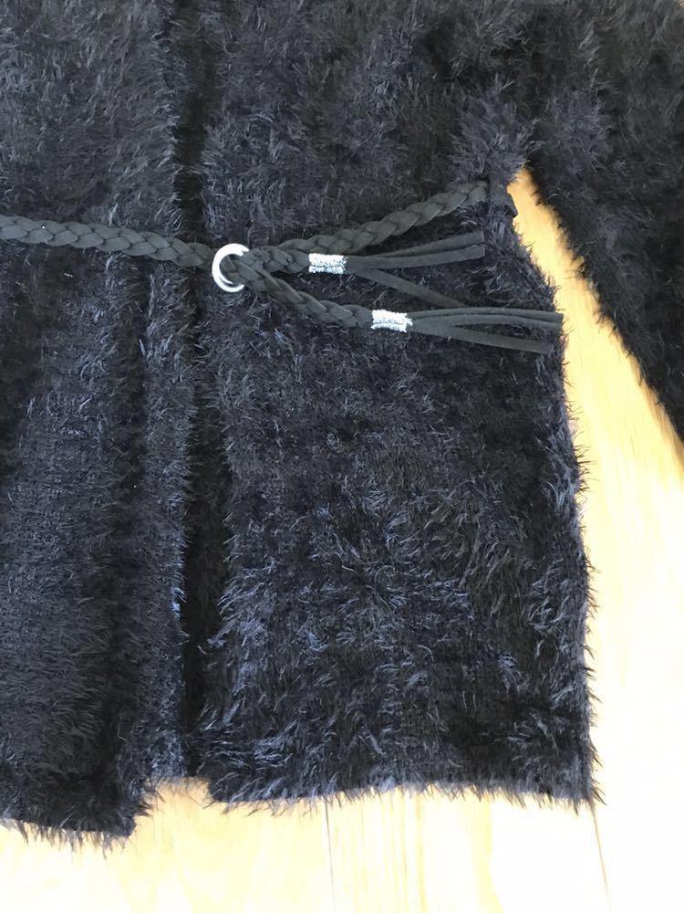 H&M キッズ ベルト付きシャギーニットカーディガン ロングカーディガン ブラック 100~105センチ もこもこ ふわふわ_画像5