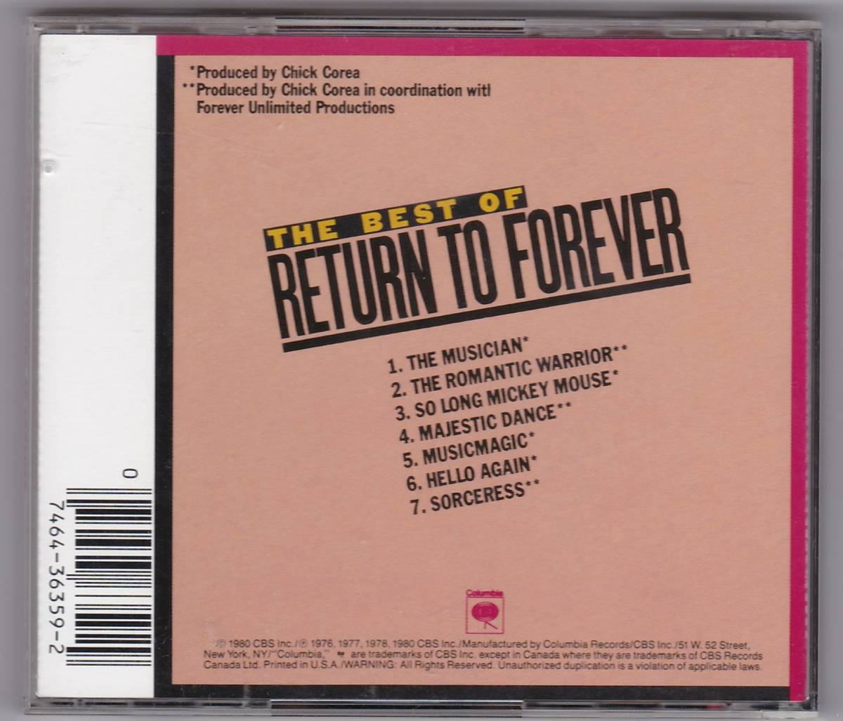 The Best Of Return to Forever リターン・ツ・フォエバー ベスト 中古CD 輸入盤 送料込