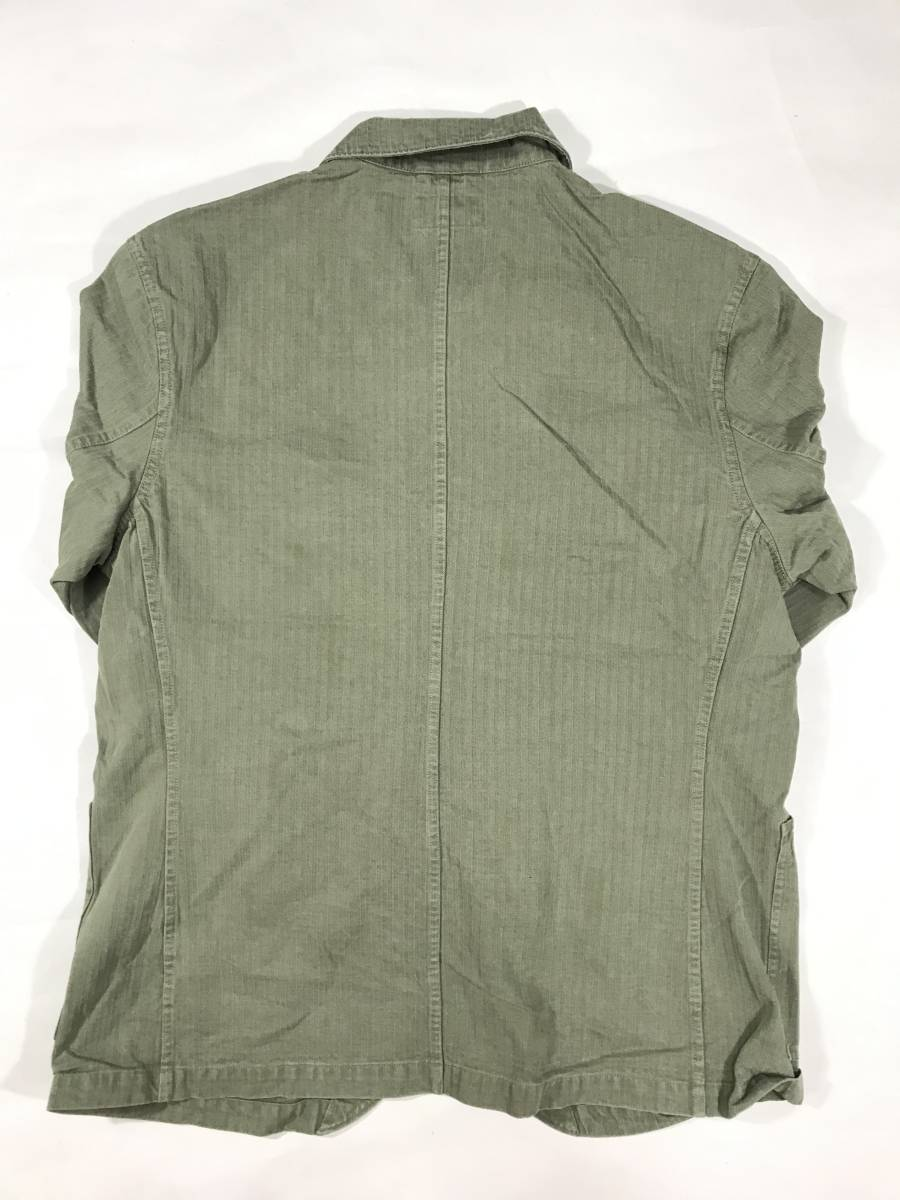 新品 14544 RRL Lサイズ アーミー ジャケット シャツ ヘリンボーン月桂樹ボタン ビンテージ polo ralph lauren ポロ ラルフ ローレン _画像8