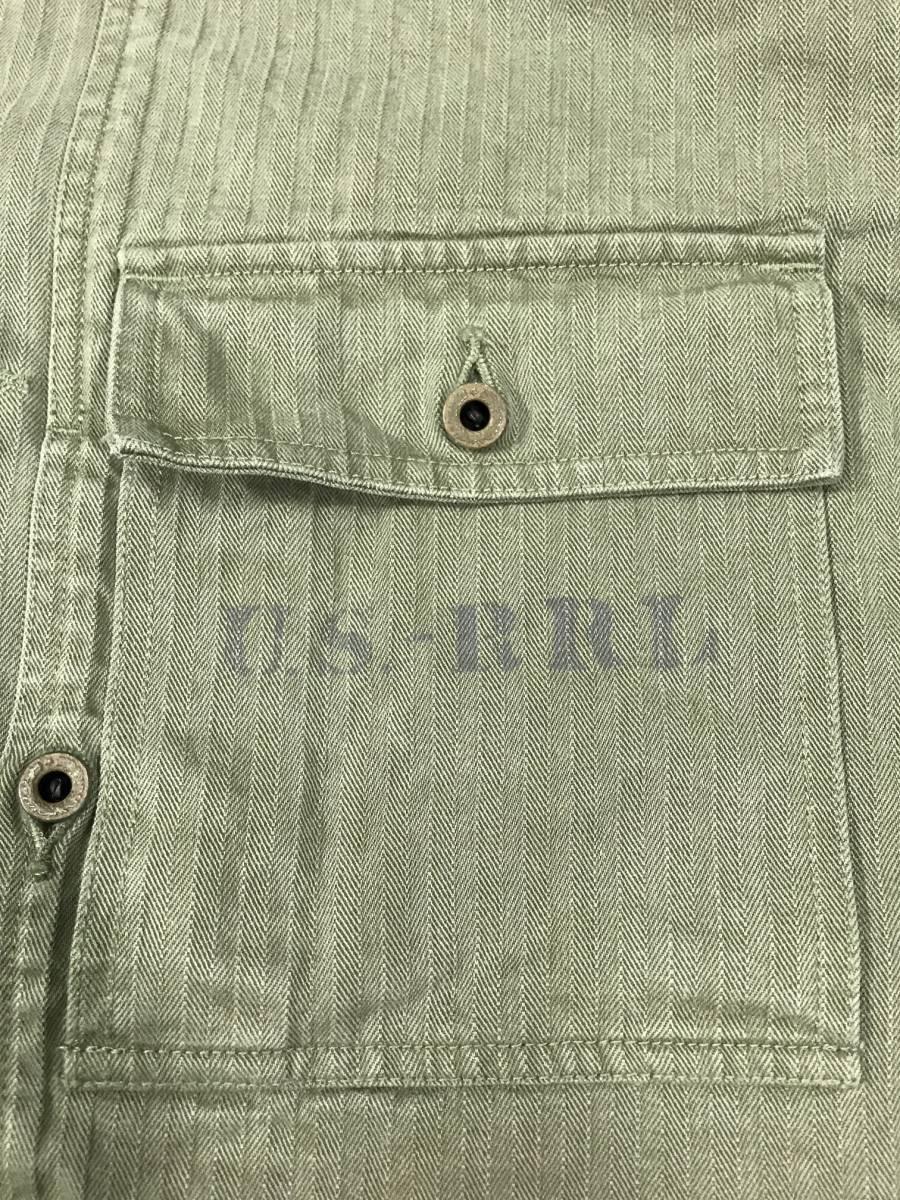 新品 14544 RRL Lサイズ アーミー ジャケット シャツ ヘリンボーン月桂樹ボタン ビンテージ polo ralph lauren ポロ ラルフ ローレン _画像3