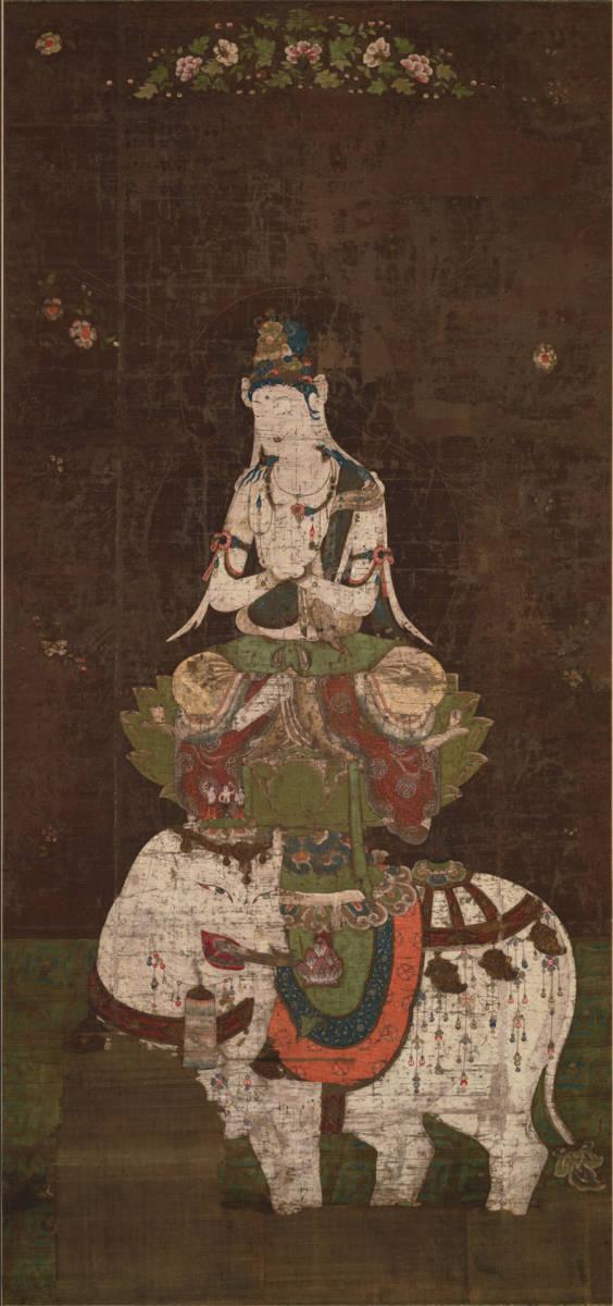 珍藏 希少品 騎象普賢菩薩 仏像画 仏教美術 109x51cm