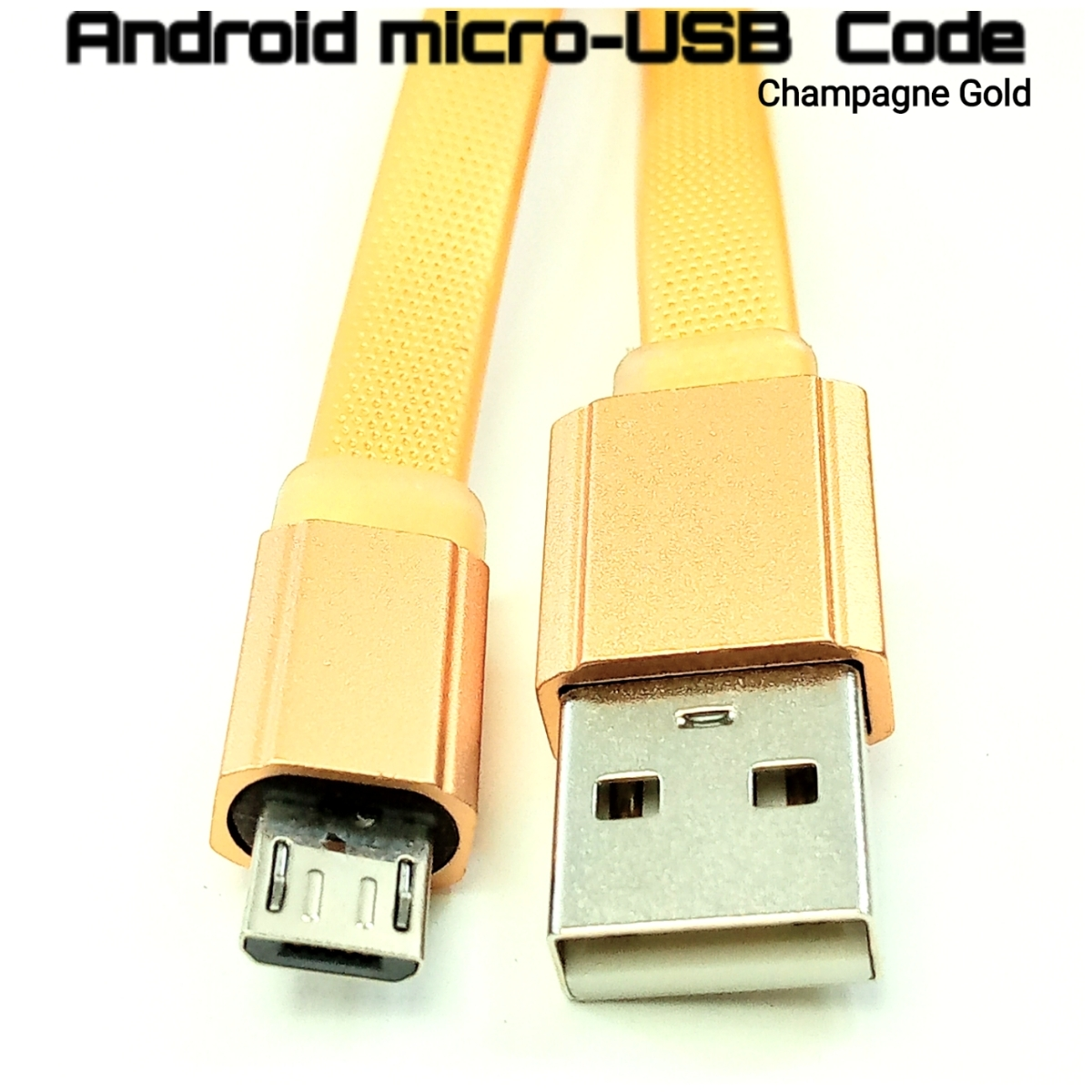 Android microUSB gold充電平コード【新品】_画像1