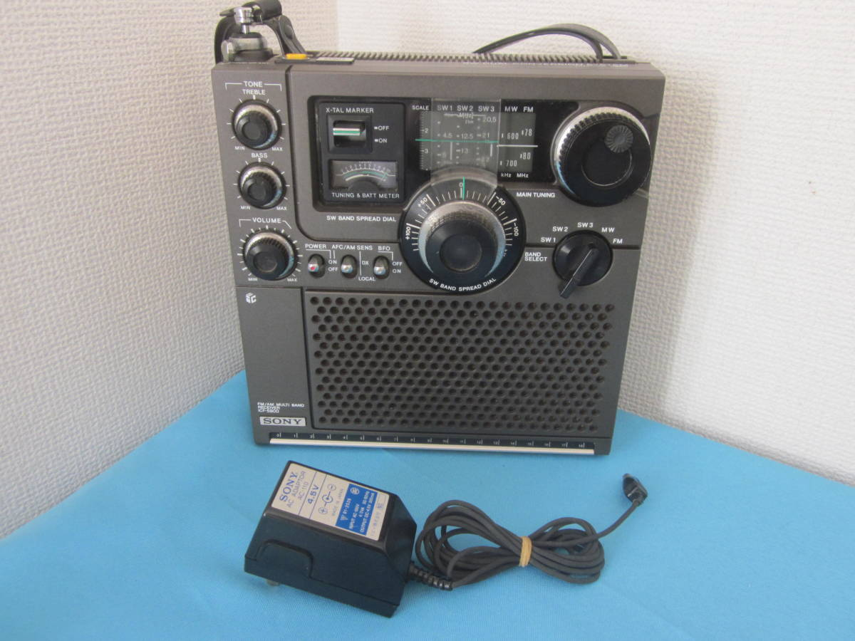 SONY ソニー FM/AMラジオ ICF-5900 スカイセンサー 純正ACアダプター付★FM/AM受信OK、ジャンク_画像1