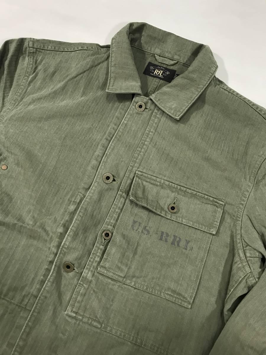 新品 14543 RRL Lサイズ アーミー ジャケット シャツ ヘリンボーン月桂樹ボタン ビンテージ polo ralph lauren ポロ ラルフ ローレン _画像2