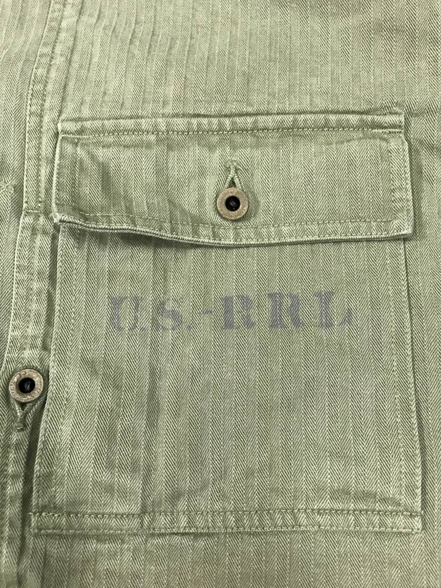 新品 14543 RRL Lサイズ アーミー ジャケット シャツ ヘリンボーン月桂樹ボタン ビンテージ polo ralph lauren ポロ ラルフ ローレン _画像3