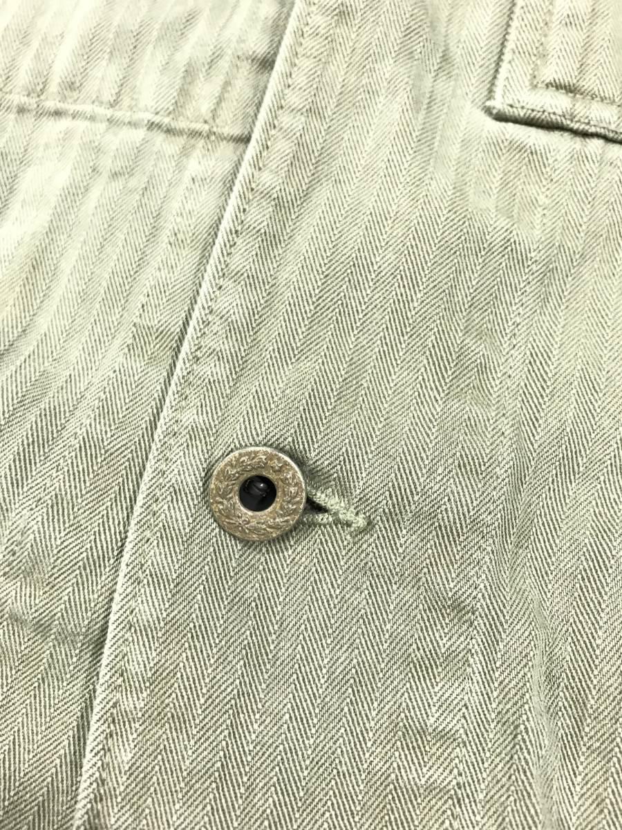 新品 14543 RRL Lサイズ アーミー ジャケット シャツ ヘリンボーン月桂樹ボタン ビンテージ polo ralph lauren ポロ ラルフ ローレン _画像4