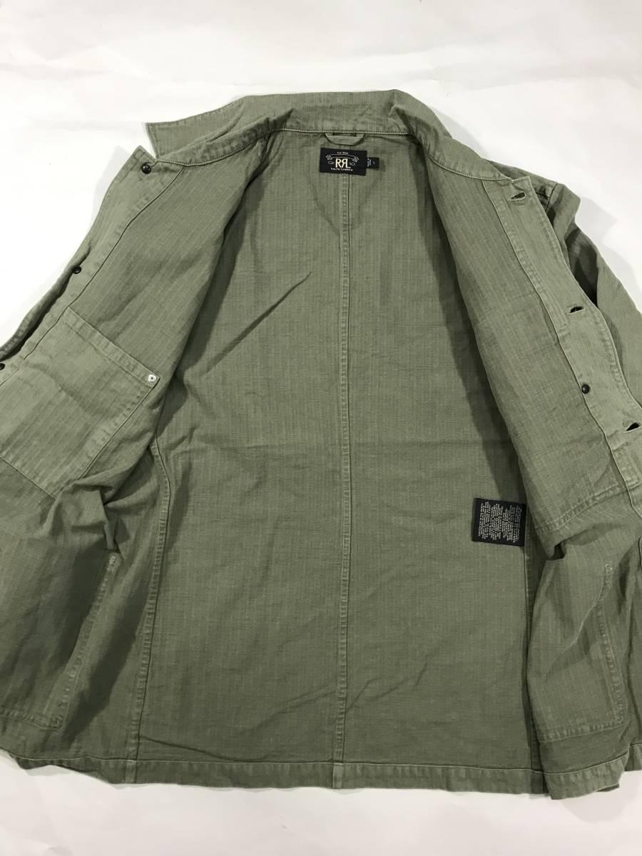 新品 14543 RRL Lサイズ アーミー ジャケット シャツ ヘリンボーン月桂樹ボタン ビンテージ polo ralph lauren ポロ ラルフ ローレン _画像7