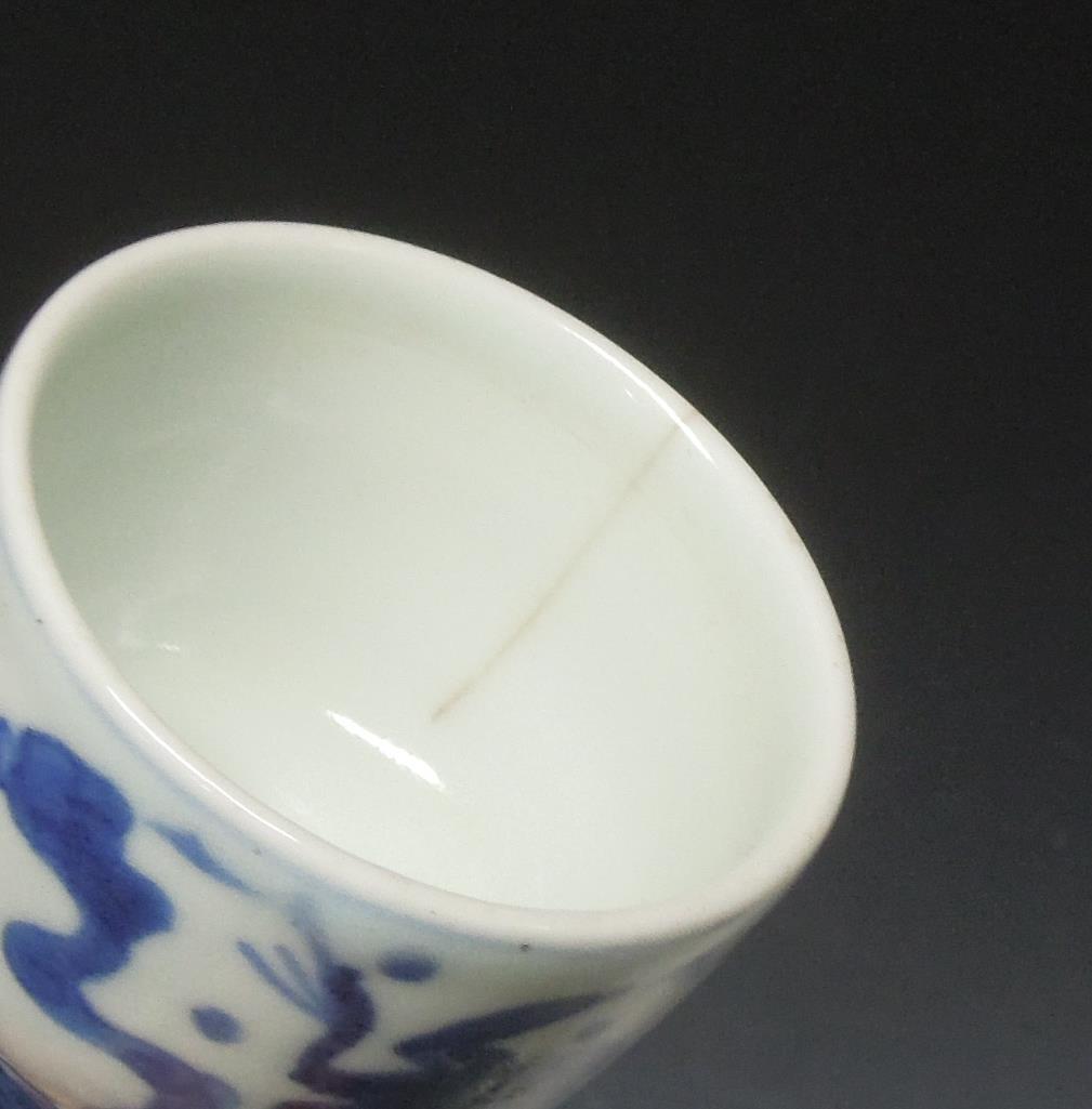 ●《 鳳凰図 染付 煎茶碗 五客 》 二点ニュウあり 煎茶道具 茶道具 茶席道具 骨董 古美術 煎茶 茶碗 唐物 古玩 中国美術_画像9