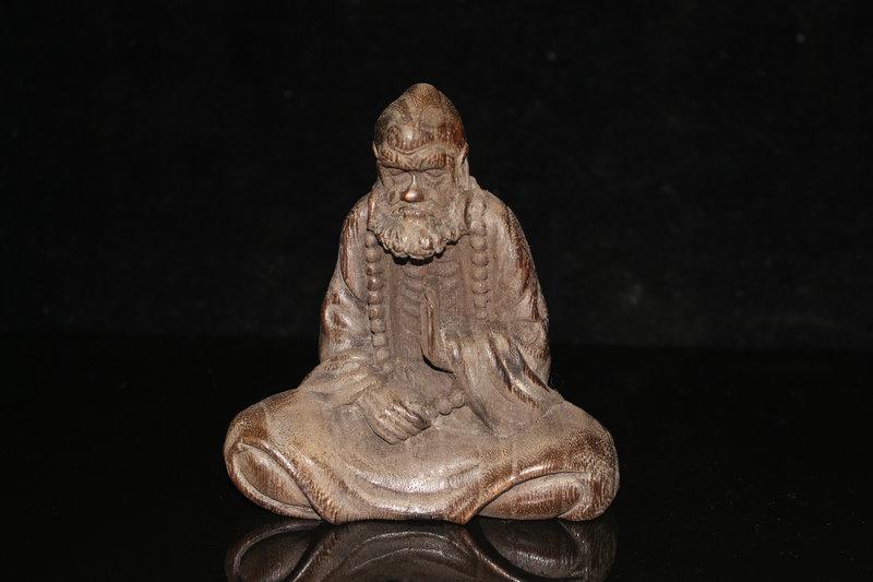 清時代 中国古美術 沈香木彫 達摩仏像 極細工 置物 擺件 古賞物