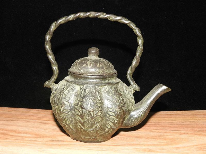 旧時郷下入手 銅製細工 花卉 紋飾 鉉壷 酒壷 茶壷 急須 湯沸 茶器
