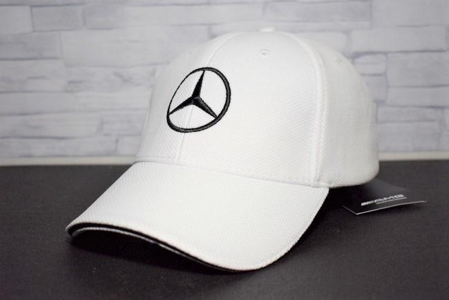 訳あり【メルセデスベンツ Mercedes-Benz】 キャップ 10-902◆未使用◆白 フリーサイズ 帽子 ゴルフ エンブレム スポーツ レジャー 激安