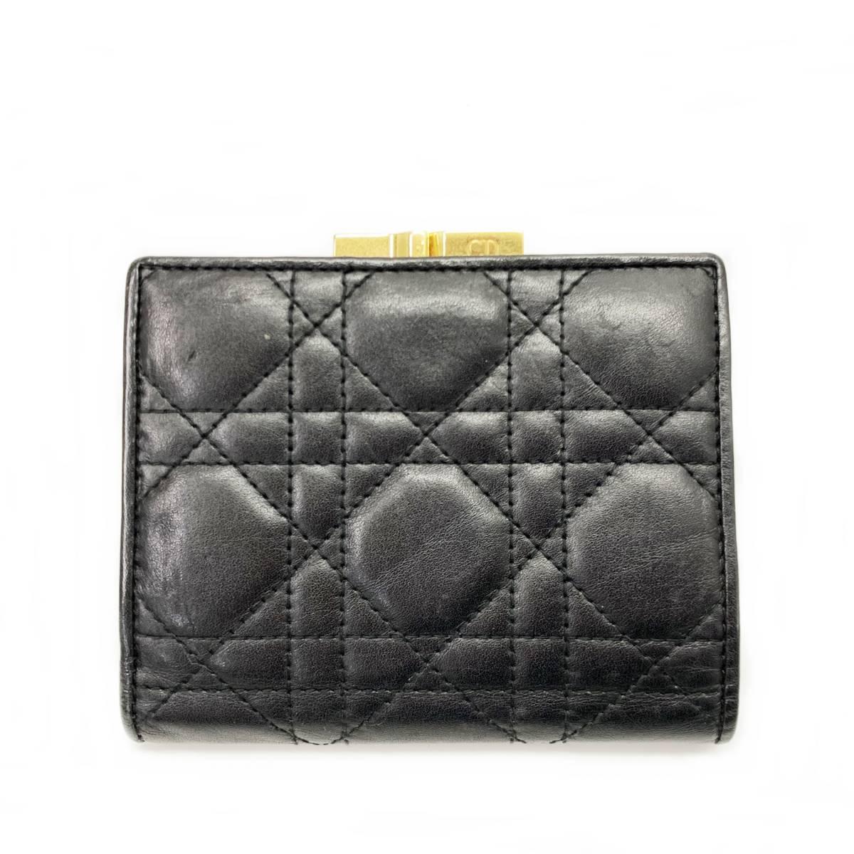 c07df89d98ab 代購代標第一品牌- 樂淘letao - Christian Dior クリスチャンディオールカナージュ二つ折りレザーがま口コンパクト財布ブラック