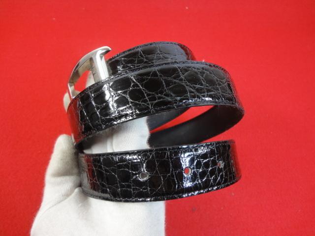 【カルティエ】本物 Cartier ベルト トーチュバックル クロコダイル 全長100cm 幅3cm 黒色 ワニ革 男性用 メンズ サイズ調整可能 送料510円_画像8