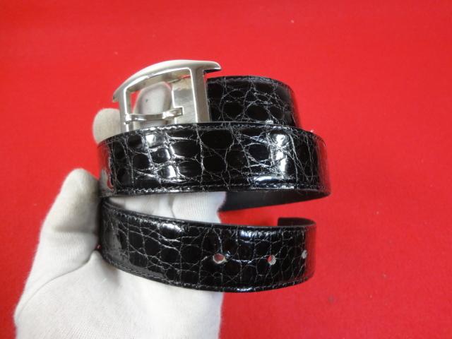 【カルティエ】本物 Cartier ベルト トーチュバックル クロコダイル 全長100cm 幅3cm 黒色 ワニ革 男性用 メンズ サイズ調整可能 送料510円_画像7