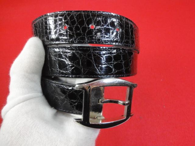 【カルティエ】本物 Cartier ベルト トーチュバックル クロコダイル 全長100cm 幅3cm 黒色 ワニ革 男性用 メンズ サイズ調整可能 送料510円_画像9