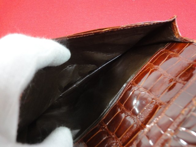 【OLOP】本物 クロコダイル 長財布 無双仕立て 札入れ マチ有り ワニ革 エキゾチックレザー 高級素材 男性用 メンズ イタリア製 送料360円_画像8