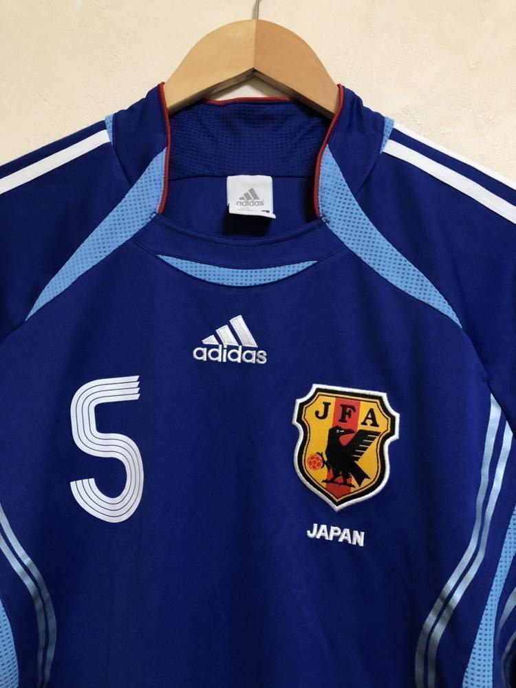 【良品】 adidas JAPAN アディダス サッカー 日本代表 ユニフォーム 2006 ホーム サイズS 長袖 侍ブルー 背番号5 宮本恒靖 81819_画像2