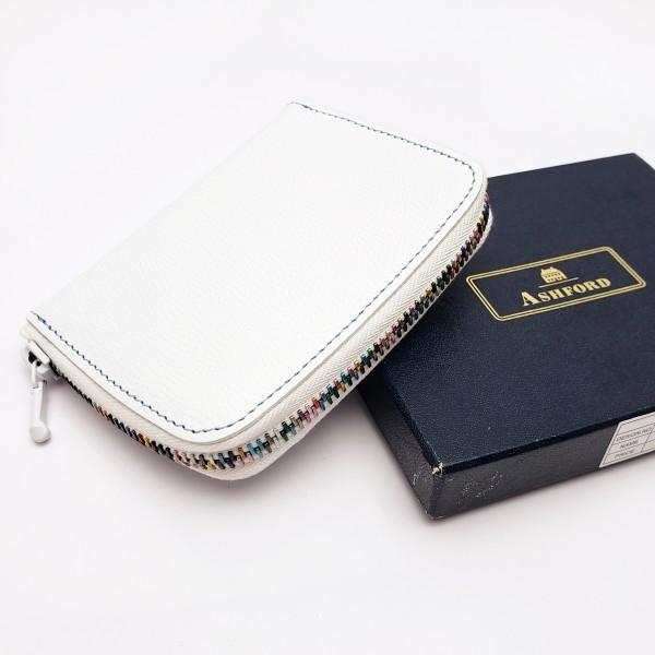6da0e764b99f 代購代標第一品牌- 樂淘letao - ASHFORD アシュフォードホワイトレザーカードケースラウンドファスナー手帳カバー日記帳