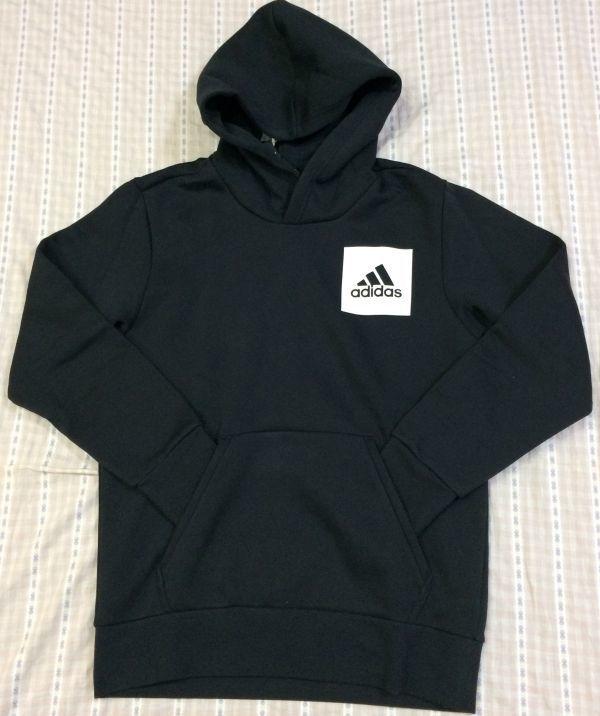 新品 大人気 アディダス Adidas スウェットパーカースウェットパンツ 上下セット 裏起毛 フード付き 黒 ブラック サイズO_画像2