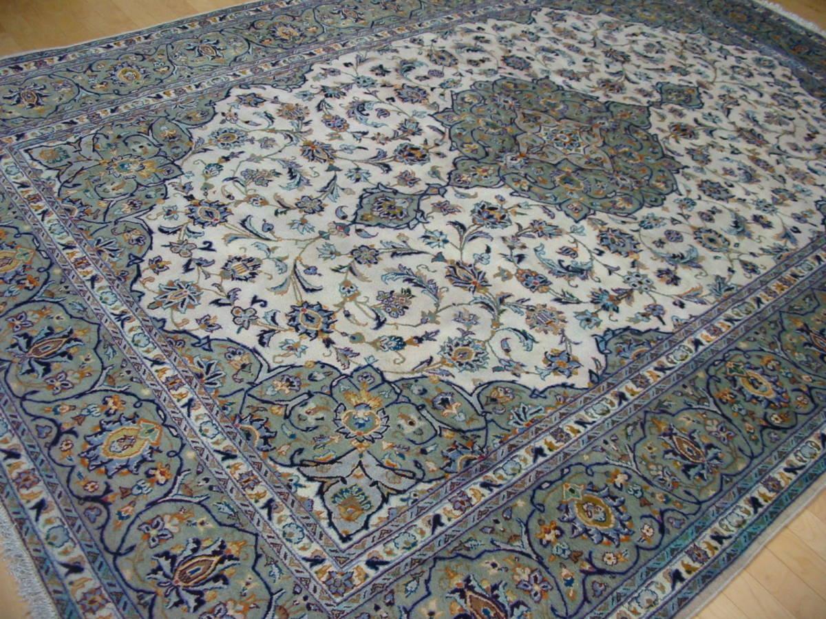 1¥ペルシャ絨毯338x235 手織り 美術品 草木染  カーシャーン産cod.B111