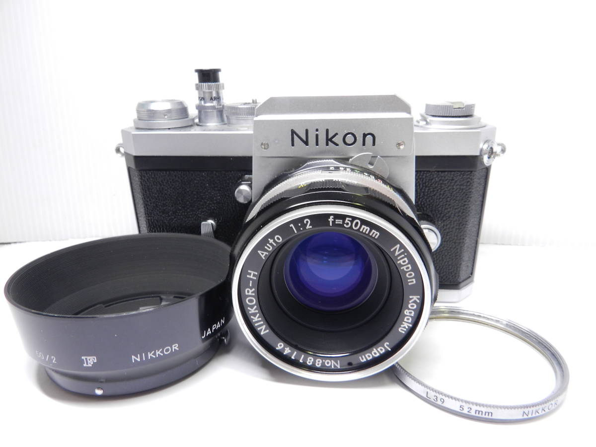 NIKON ニコン/一眼レフカメラ/初代 F アイレベル/レンズ NIKKOR-H Auto 50mm f2/MF 単焦点/動作品/フィルムカメラ/ケース 取説付属/管Y0133_画像3