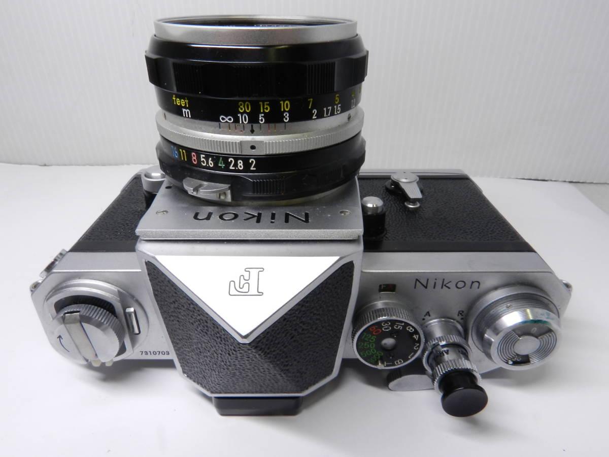 NIKON ニコン/一眼レフカメラ/初代 F アイレベル/レンズ NIKKOR-H Auto 50mm f2/MF 単焦点/動作品/フィルムカメラ/ケース 取説付属/管Y0133_画像4