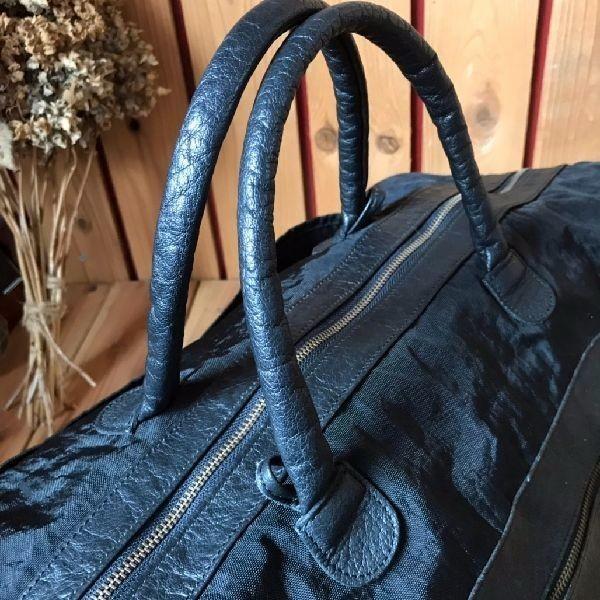 ≫美品イビサIBIZA本革レザー×ナイロン2wayショルダー付ボストンバッグ大容量*大型鞄旅行かばん黒ブラック男女兼用メンズレディース*軽量_画像6