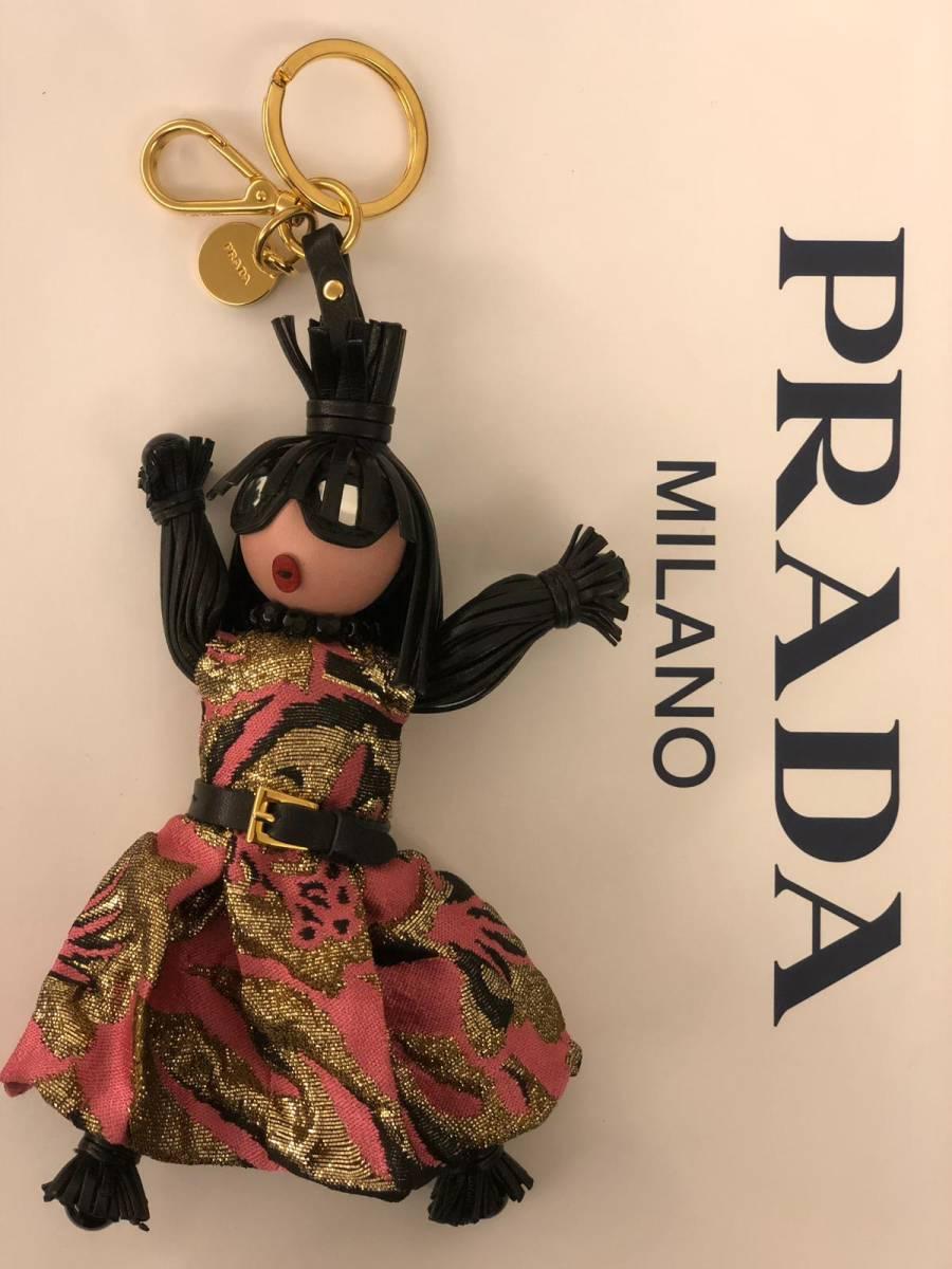 6ade4605e869 代購代標第一品牌- 樂淘letao - 新品同プラダPrada レザー本革人形キーホルダーバッグチャームアクセサリードール黒金ビッグ金具ドレス刺繍