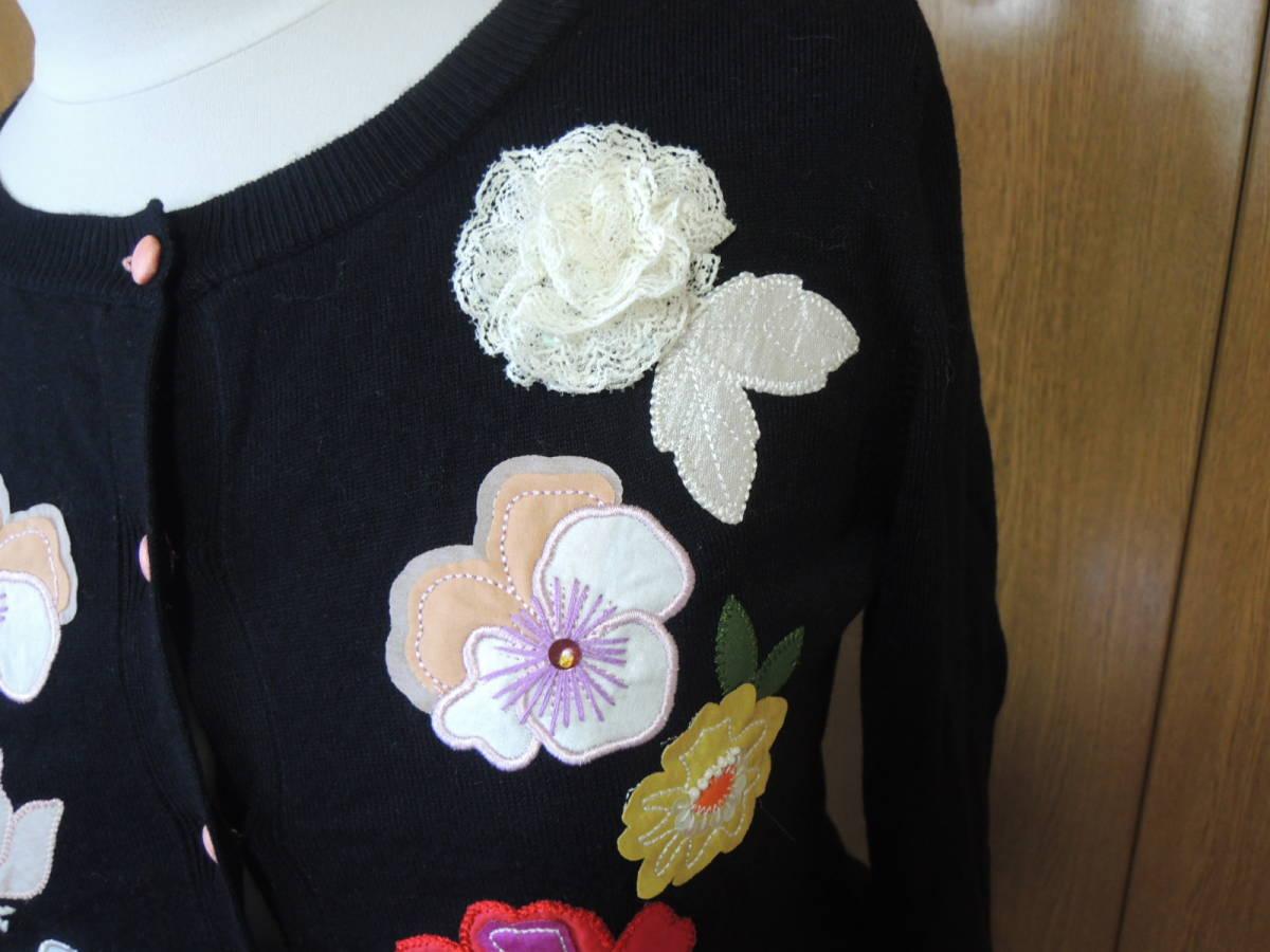 新品 Cynthia Rowley シンシアローリー お花柄ニット カーディガン 黒_画像3