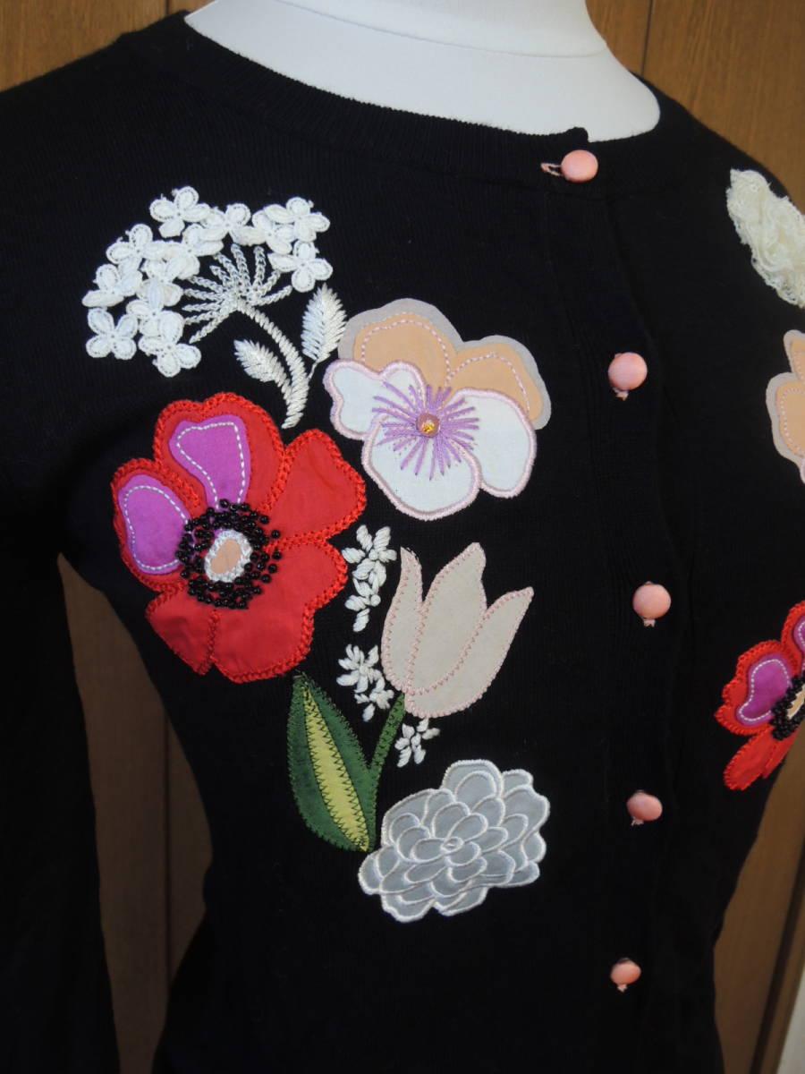 新品 Cynthia Rowley シンシアローリー お花柄ニット カーディガン 黒_画像4