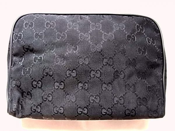 New unused Gucci GUCCI pouch Pen case Pencil case Jaguar leather Leather GG Monogram Total pattern cosmetic pouch Black Black Gucci & bag, bag & others
