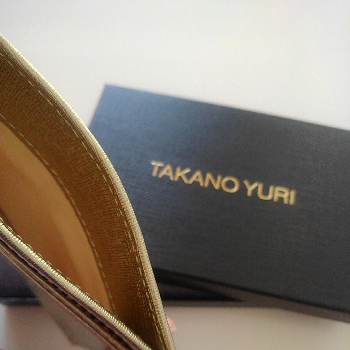 ◇TAKANO YURI 本革オリジナルカードケース ゴールド 箱入 新品◇_画像5