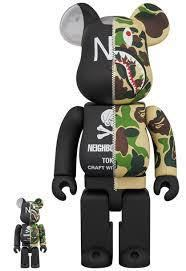 【新品未開封】A BATHING APE(R) × NEIGHBORHOOD(R) BE@RBRICK 100% & 400% medicom toy_画像1