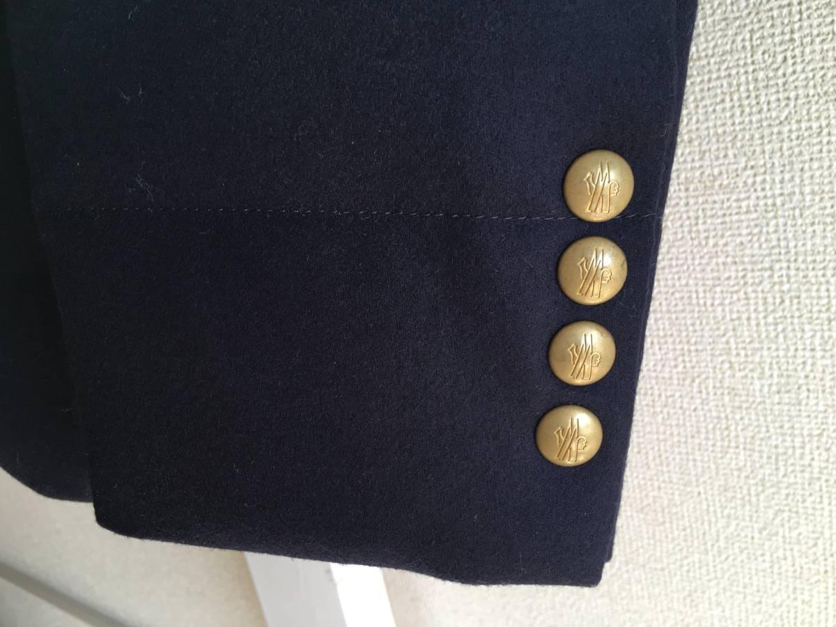 新品 本物 モンクレール ガムブルー ウール 100% ダウン ジャケット 4 MONCLER GAMME BLEU ネイビー ゴールド 金ボタン 迷彩 コート_画像7