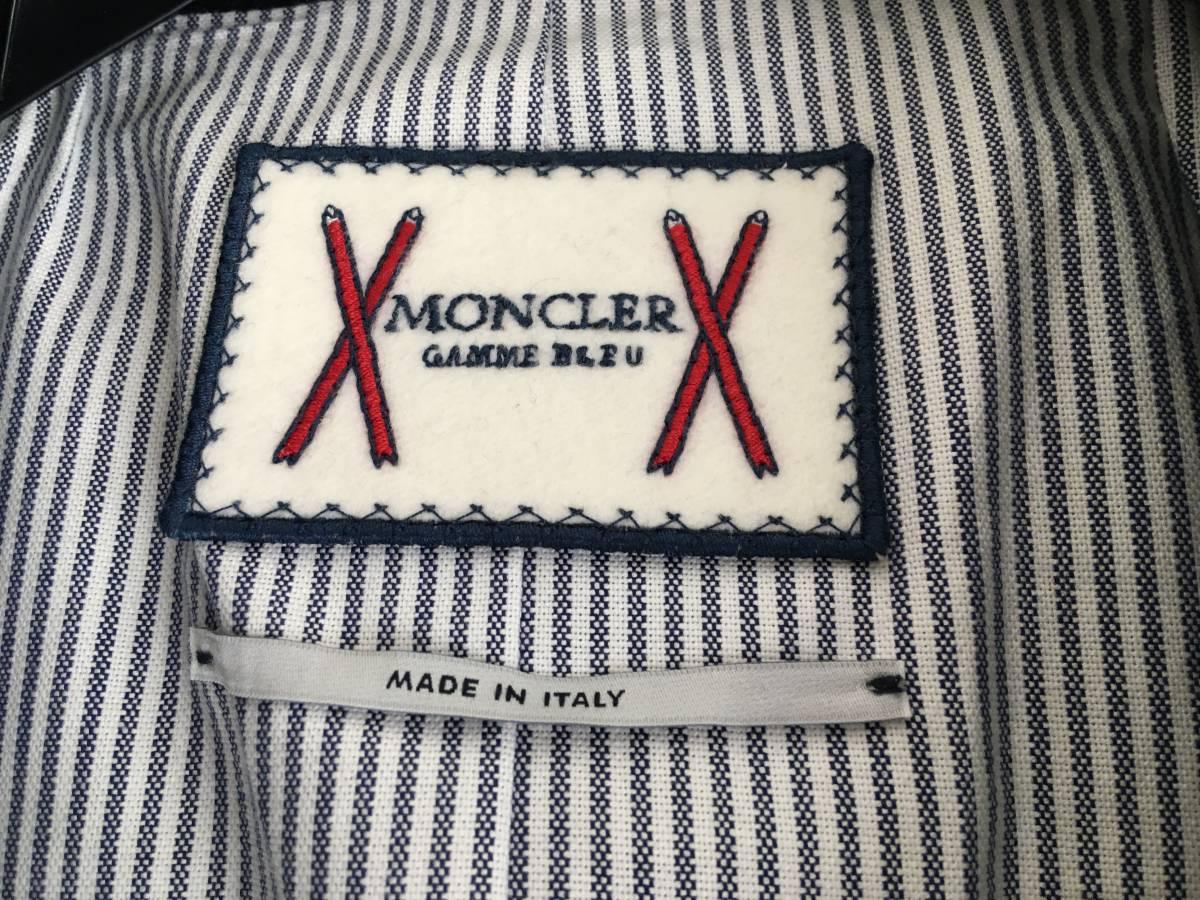 新品 本物 モンクレール ガムブルー ウール 100% ダウン ジャケット 4 MONCLER GAMME BLEU ネイビー ゴールド 金ボタン 迷彩 コート_画像8