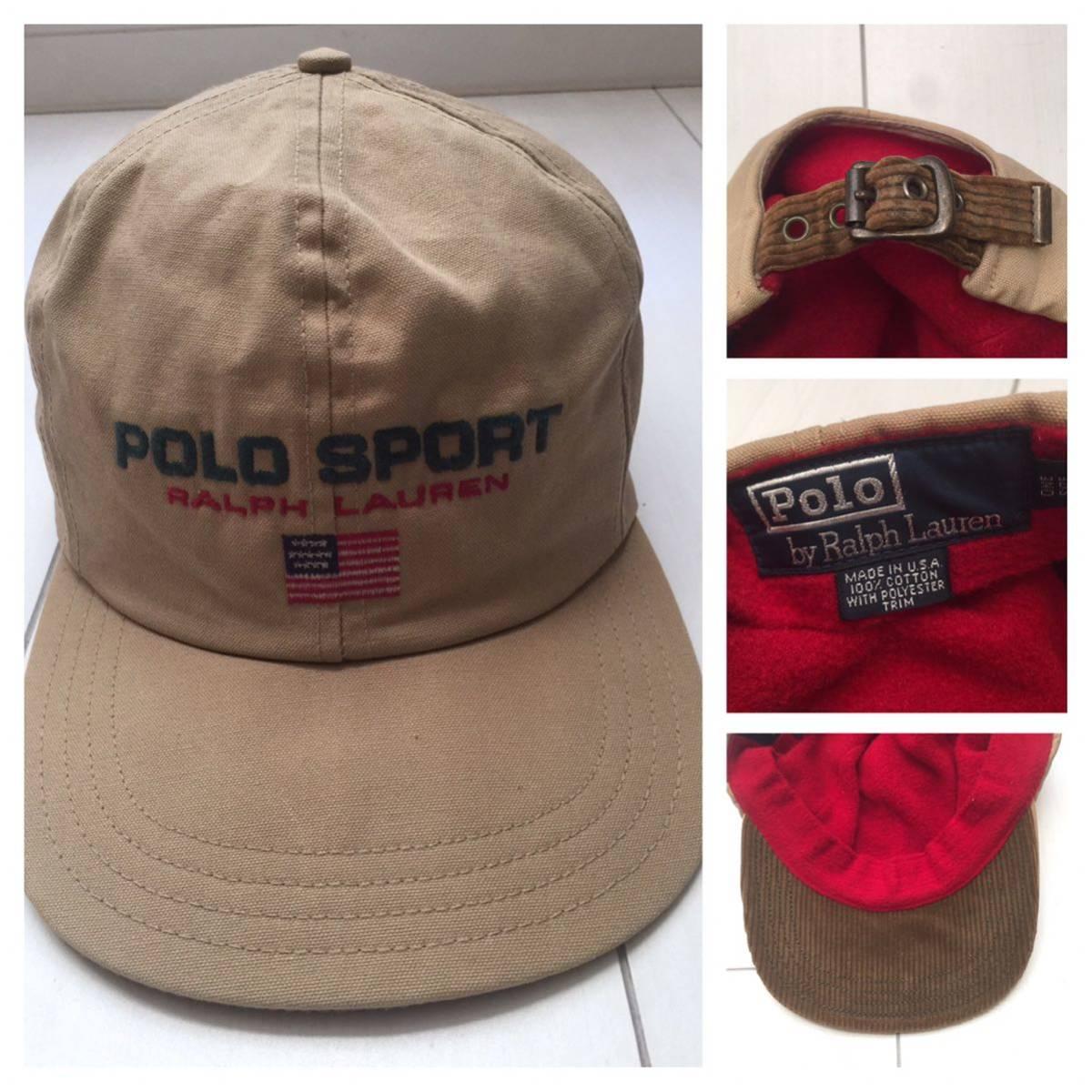 送料無料 90s POLO SPORT ダック地 フリース 裏地 コーデュロイ 切替 USA製 CAP キャップ 帽子 ポロスポーツ ラルフローレン RRL vintage