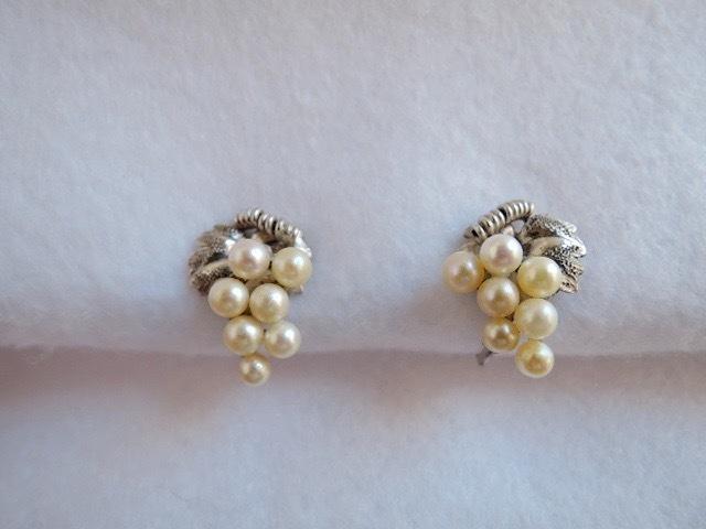 真珠/古いパールのイヤリング 葡萄デザイン(古い三越の箱)レトロ_画像2