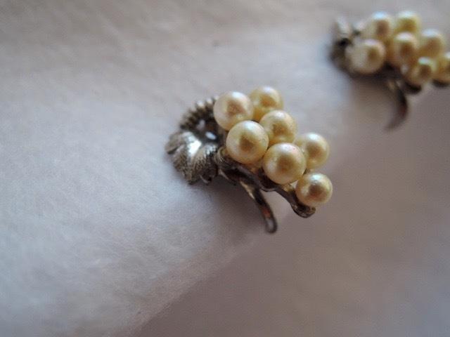 真珠/古いパールのイヤリング 葡萄デザイン(古い三越の箱)レトロ_画像3