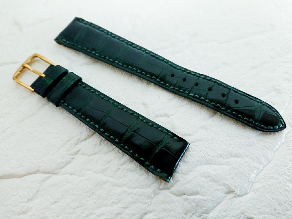 1e059db5c487 BVLGARI ブルガリ レディース 腕時計 純正 手縫い 時計ベルト 本革 本革ベルト クロコ グリーン