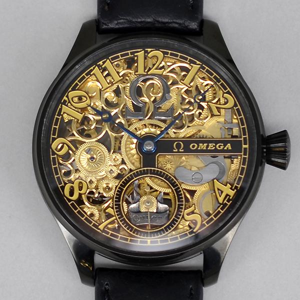 オメガ★OMEGA アンティーク アールデコ・スケルトン ブラック・ケース 手巻き 腕時計★1910年代製 メンズ ウォッチ レア 送料無料